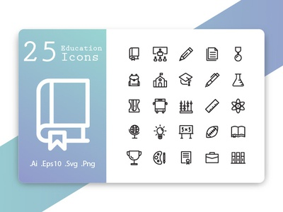 Education Icons Line Style