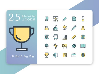 Education Icons Fill Line Style