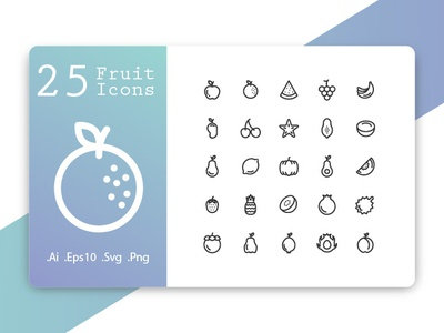 Fruit Icons Line Style