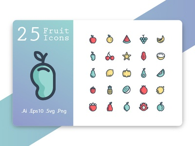 Fruit Icons Fill Line
