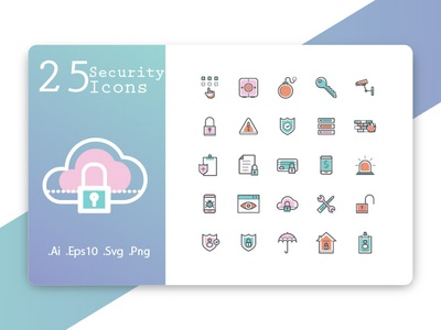 Security Icon Set outline thin symbol shield stroke web secure technology computer safety password data set cyber vector protection line icons security icon
