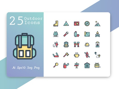 Outdoor and Vacation Icon Set tree activity symbol travel summer nature compass fire illustration line adventure tent camp set outdoors vector camping icons outdoor icon
