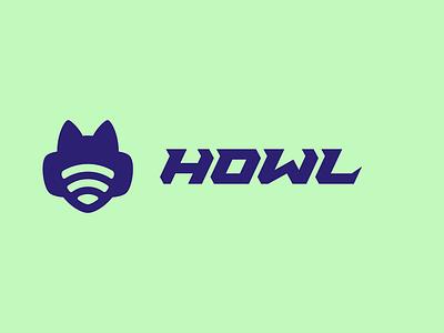 Howl logo mark furry canine wolf headphone live live streaming radio channel radio badges badge streaming vector illustration lettering personal design monogram icon branding logo