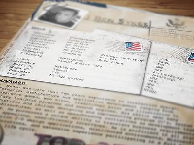 WW2 Dossier Resume (Rev) skeuomorphic skeuomorph vintage dossier cv print resume creative experiement