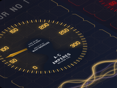 Daily FUI - Westinghouse A-C Amperes Meter re-created fictional design illustration high contrast fui fuidesign