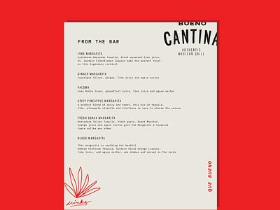 bueno cantina menu tacos restaurant branding food menu cantina