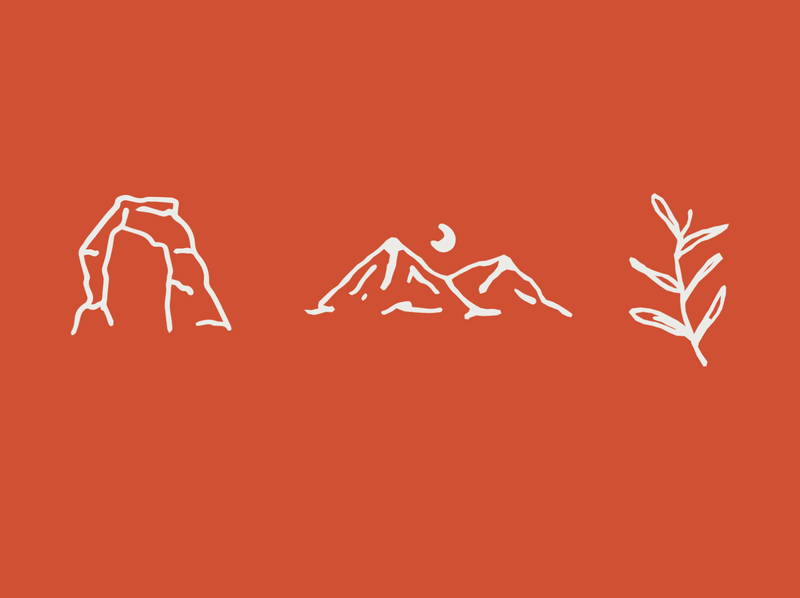 outdoor icons desert doodle hand drawn plant mountains icons outdoors arch utah moab