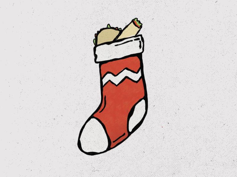 tacos for christmas illustration holiday procreate tacos stocking christmas