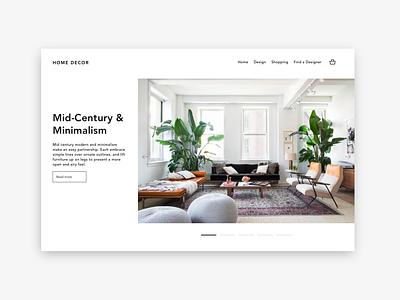 Mid-Century & Minimalism homepage home decor interior website ui web minimal branding ux design