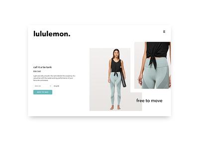 Lululemon minimal website design web ux ui branding