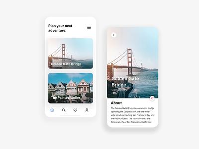 San Francisco | Plan your next adventure app mobile design ux ui travel