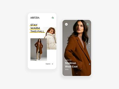 Fall fashion branding mobile minimal ux ui design
