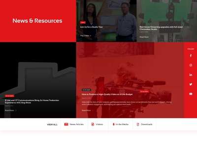 News & Resources grid news feed news section blog ui