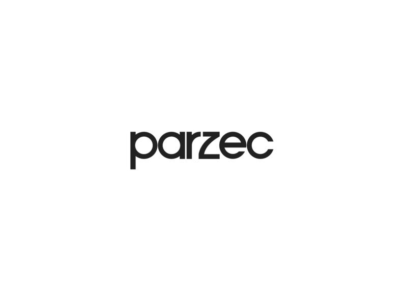 Parzec logo exploration icon typography branding white black design logo
