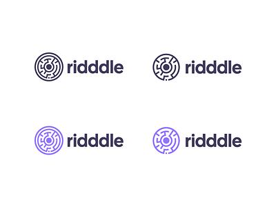 Ridddle Logo Exporation. purple logo maze ridddle riddle