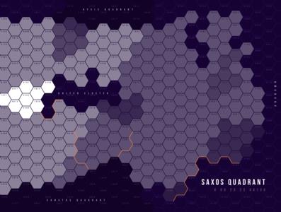 Hex Map for Traveller RPG (Tabletop) game illustration design