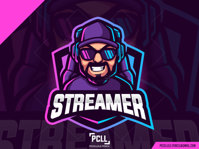 Streamer Logo For Sale man cartoon vector design premade for sale esport esports logo mascot daddy beared beard gaming gamer podcast caster host streamer