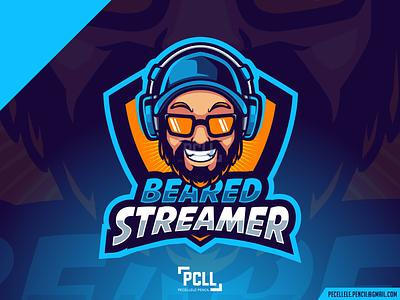 BEARED STREAMER twitch esport gaming caricature man vector design logo cartoon mascot music podcast gamer streamer caster hoster daddy beared beard