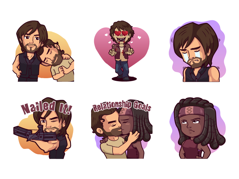 The Walking Dead stickers #1 walker rick daryl michone character cute illustration messenger chat immesage stickers the walking dead