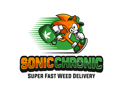 Sonic Chronic running delivery deliveryman cannabis weed vector design logo character mascot hedgehog sonic