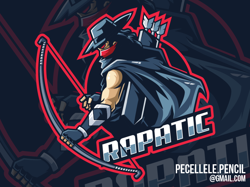 Rapatic Gaming Logo marksman vector youtuber streamer gamer gaming esports esport mascot logo bandit archer