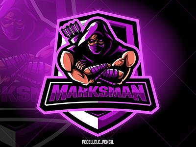 Marksman ninja gamer squad premade exclusive store badge vector design hunter assassin shinobi archerry archer marksman sport esports esport logo gaming