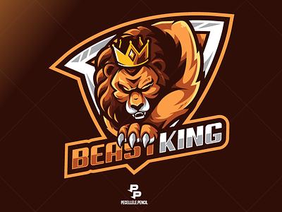 Beast King logo for sale illustrative gamer logo design king crown vector design mascot mascot logo logo beast sport logo esports gaming logo gaming esports logo esport logo lion logo lion king