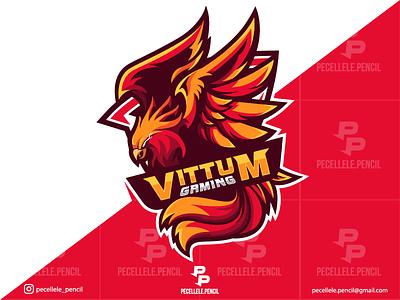 Vittum Gaming creature mythical shield badge professional twitch sport esport esports gamer gaming designs design logo mascot fire bird eagle hawk phoenix