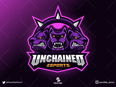 Unchained Esports badge angry badass united vector design creature mythical dogs sport twitch streamer gamer unchained logo gaming esports esport mascot cerberus
