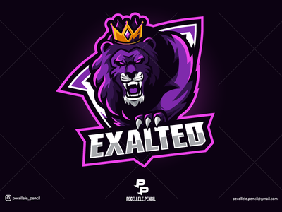 Exalted professional badge rage roar youtuber design sports team squad beast twitch gaming esport esports mascot logo crown royale king lion