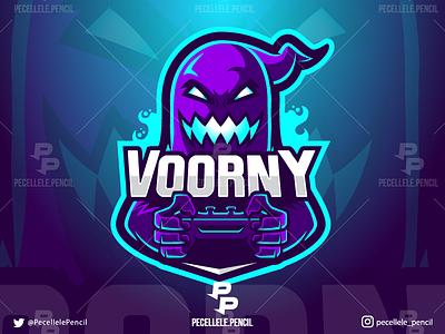 Voorny hollow sport voorny streamer youtuber designer halloween esports esport twitch cartoon vector design gamer gaming controller mascot logo spooky ghost
