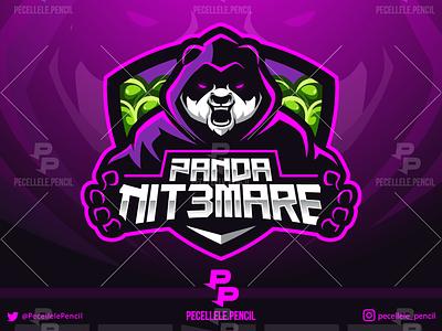 Pandanit3mare team clan squad pubg fortnite twitch streamer youtuber rage sport cartoon illustration vector mascot esports esport gamer logo gaming panda