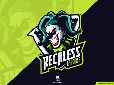 Rekless Esports sticker illustration cartoon badge sport esport esports streamer twitch gamer gaming vector design logo bad angry evil mascot clown joker