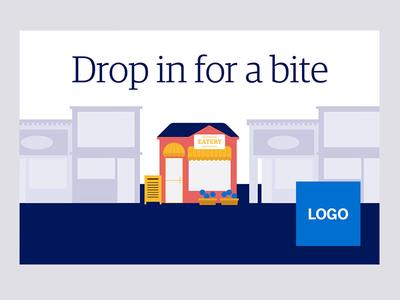 POP - Drop in for a bite pop illustration design