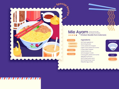 Mie Ayam Spesial Bakso Dua foodie recipe recipe card menu food illustration food and drink lunch meal beverage ice tea vintage postcard stamp exploration noodle food vector isometric illustration