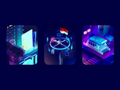 Neon City music poster light mrt indonesia cityscape vibrant futuristic cyberpunk scifi neon night city building gradient isometric vector illustration