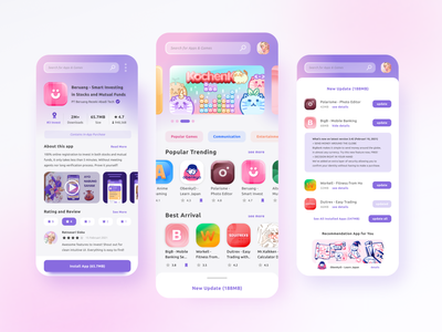 My Apps Collection product figma soft pastel design app store logo cat ui icons gradient vector illustration
