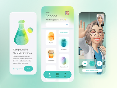 Pharmacy & Chemist App dlweek15 health app glass jar chemist poster onboarding menu video call app avatar doctor healthcare medication drug ui gradient isometric vector illustration