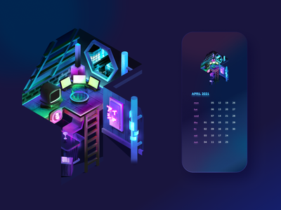 [April] Cyberpunk City 2021 Calendar 2d isometric wip glass neon scifi futuristic lights calendar ui 2021 calendar cyberpunk design night city building gradient isometric vector illustration