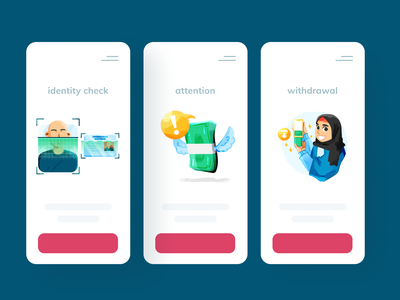 💎 withdrawal and refund pt. 2 check scan product metaphor cash withdrawal empty state feedback notification notify money card identity hijab ui vector illustration