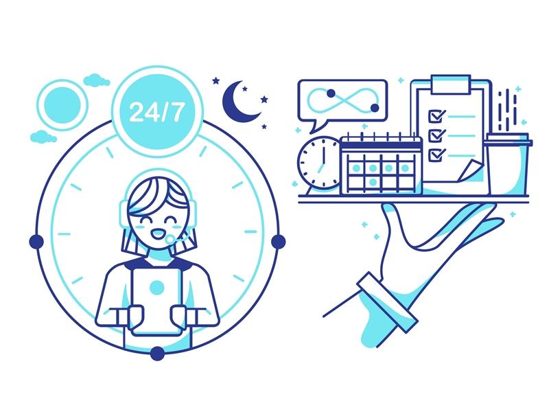 Online Assistant serve blue neon stroke outline art line vector illustration manager assistant virtual
