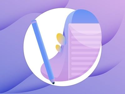 Revision edit revision illustration gradient icons pencil paper form web purple