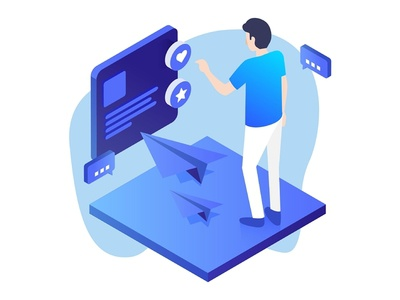 Feedback Illustration Icon comment people 3d isometric plane paper ocean blue illustration feedback
