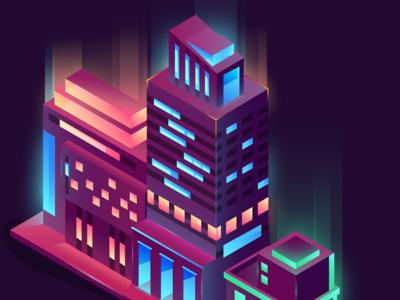 Night Vibes landscape 3d purple gradient lights urban night city illustration isometric
