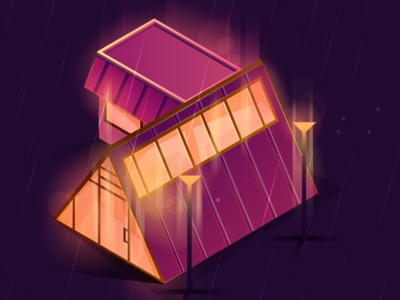 Rainy Camp Illustration architect camp isometric gradient bokeh lights lamp purple rain illustration
