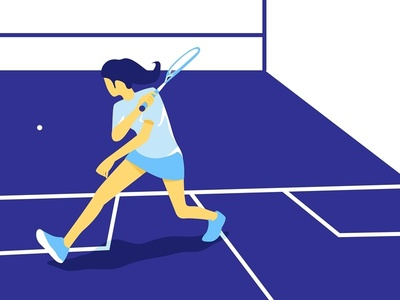 Squash Sport squash court negative space flat  design sport blue vector illustration