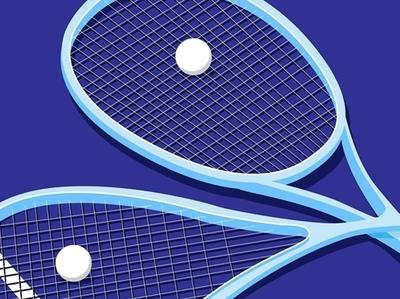 Squash Sport squash sport asian games limited color negative-space flat  design design blue icons vector illustration