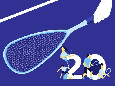Squash Sport asian games flat  design blue illustrator sport squash vector illustration
