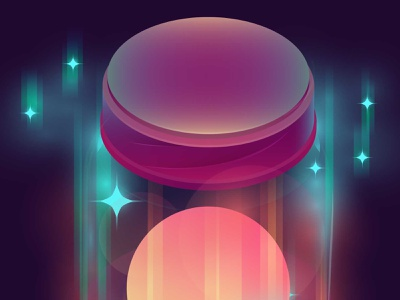 Moon In The Jar Illustration stars space galaxy moon light 3d gradient vector isometric illustration