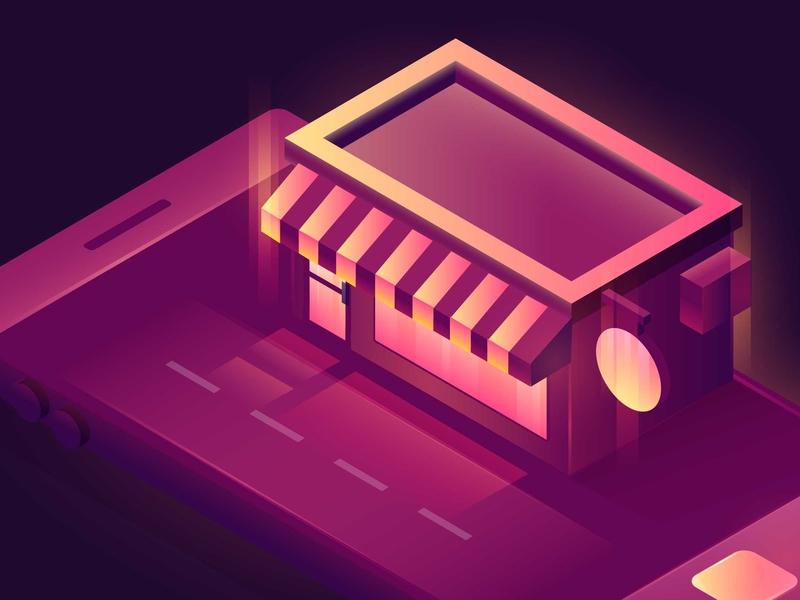 Mobile Commerce Illustration ecommerce shop lights smartphone store ecommerce hero image building gradient vector isometric illustration